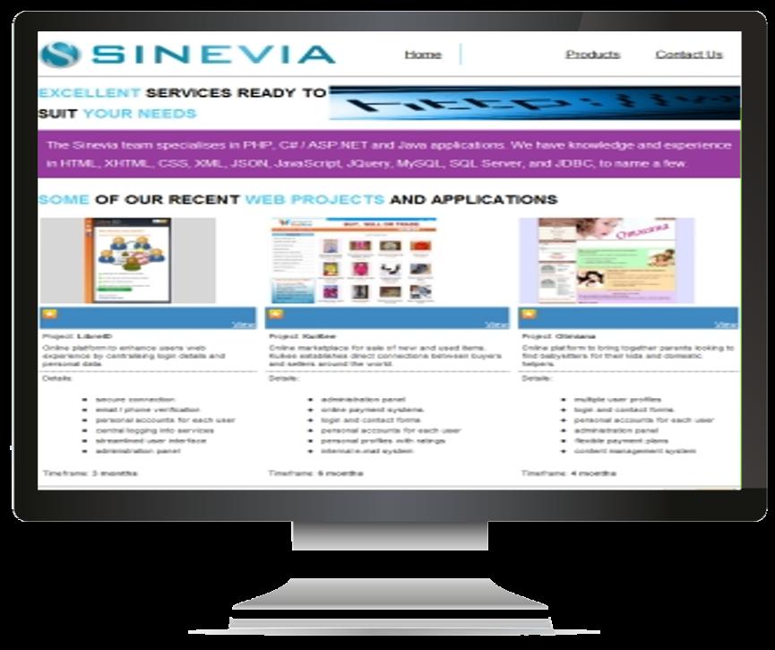 Sinevia.com - Services Page