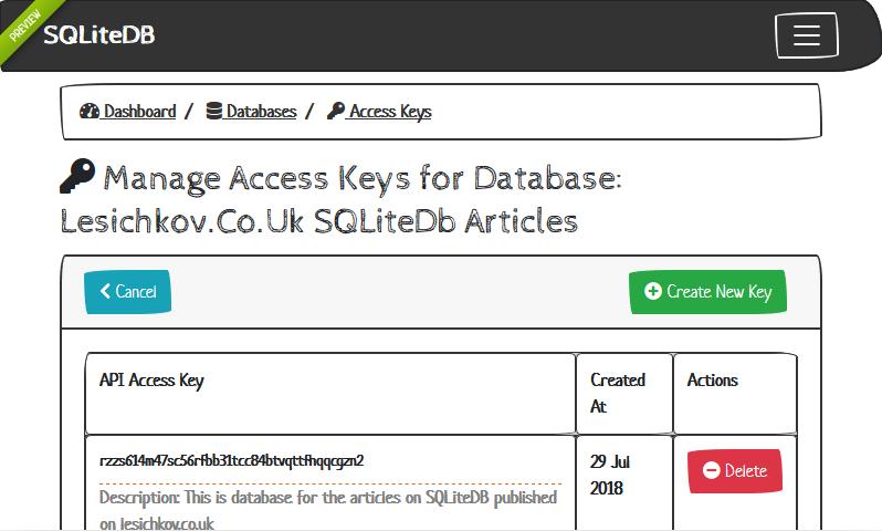 SQLiteDB   Database Keys